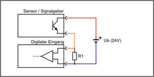 Standardbeschaltung isolierter Sensorausgang mit Lastwiderstand