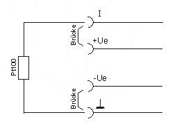 Anschluss des Pt100-Sensors (2-Leiter)
