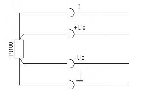 Anschluss des Pt100-Sensors (4-Leiter)
